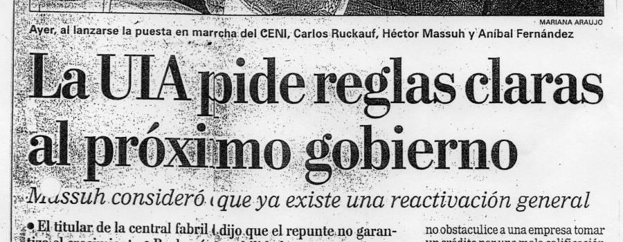 La Nación, La UIA pide reglas claras, mayo de 2003