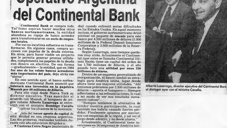 El Continental Bank invierte en Massuh, septiembre de 1991