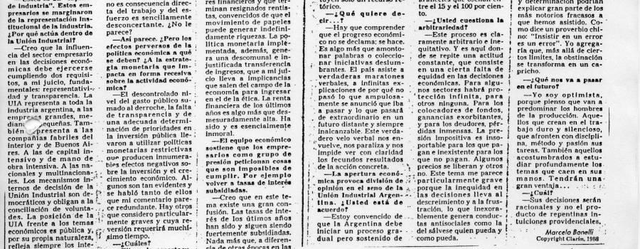 """Clarín, mayo 1988: """"El progreso es algo más que amontonar palabras"""""""