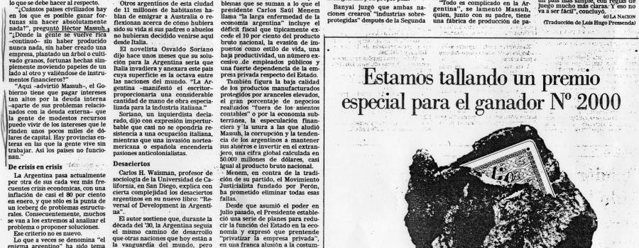 La Nación, repercusión en el New York Times, febrero de 1990