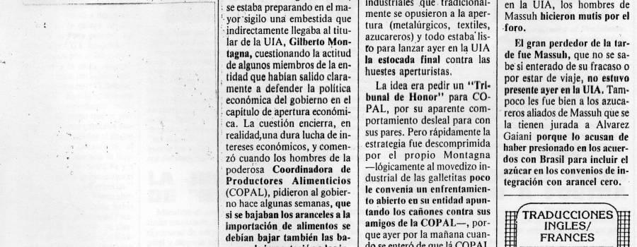 Ámbito Financiero, críticas de la UIA, setiembre de 1990