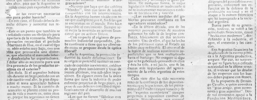 """El Cronista, enero de 1990: """"La cultura financiera nos hizo mucho daño"""""""