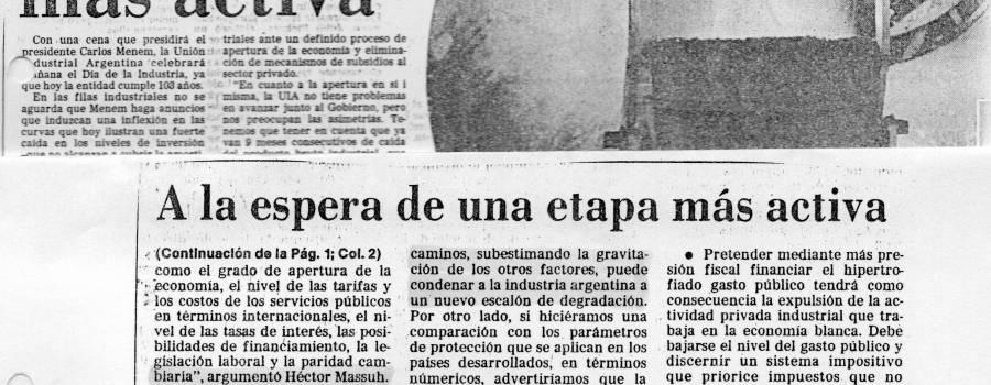 La Nación, UIA, setiembre de 1990
