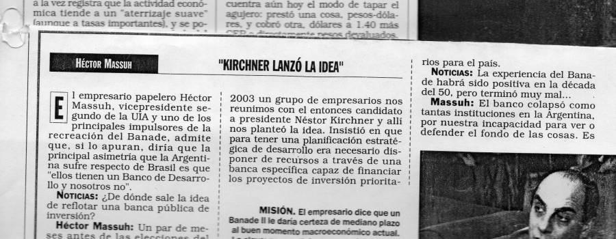 Noticias, octubre de 2004: A favor de un Banco de Desarrollo