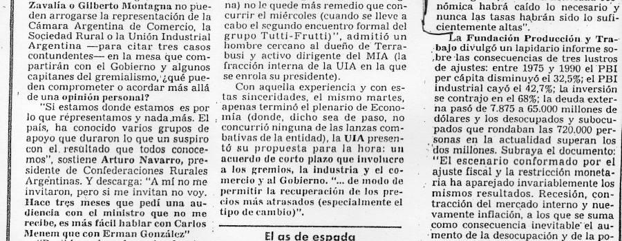 Clarín, Panorama empresario, octubre de 1990