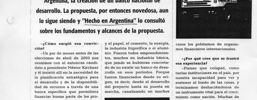 Hecho en Argentina, octubre de 2004: BANADE para la transformación