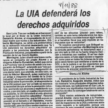 Clarín, la UIA defiende a Massuh, abril de 1988